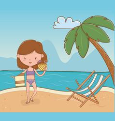 young girl on beach scene vector image