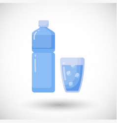 bottle and glass of water flat icon vector image vector image