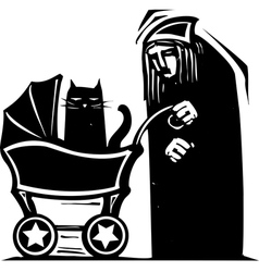 Cat Lady with Baby Carriage vector image vector image