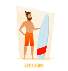 happy surfer with surf board on the beach vector image