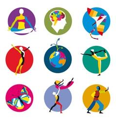 human development icons vector image vector image