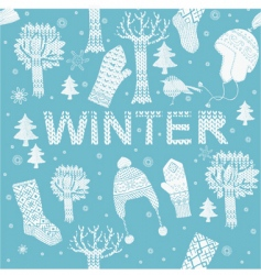 knitted winter clothes vector image vector image