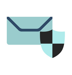 mail on protect icon flat vector image vector image