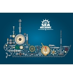 Sea ship silhouette with nautical equipment vector image