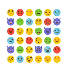set of emoticons avatars funny cartoon faces vector image vector image