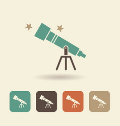 telescope and stars single flat icon vector image
