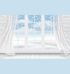 view of the winter landscape through the window vector image
