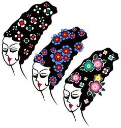 woman flower hair vector image vector image