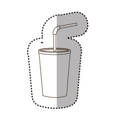 figure drinks soda with flat icon vector image