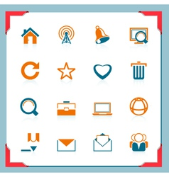internet icons in a frame series vector image vector image
