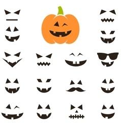 Set of faces for Halloween pumpkin vector image