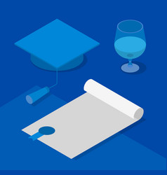 3d graduation cap certificate and wineglass vector