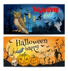 Artistic posters and cards for Happy Halloween vector image