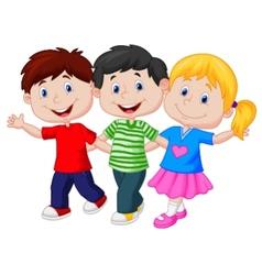 Happy young children cartoon vector image vector image