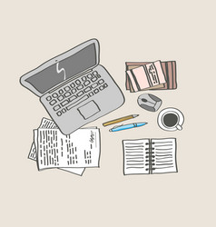 office workspace handdrawing colored vector image