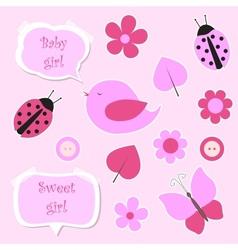 Set of pink scrapbook elements for baby girl vector image vector image