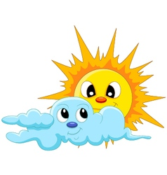 sun and cloud cartoon vector image