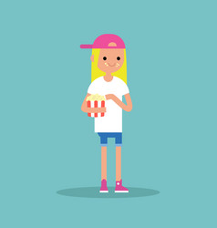 young blond girl chewing popcorn full length vector image vector image