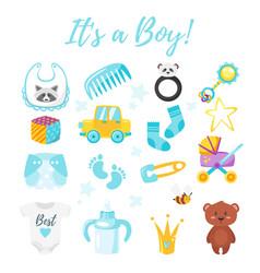 baby shower set of symbols vector image vector image