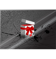 christmas box with bow vector image