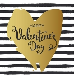 Hand drawn heart on striped background Valentines vector image