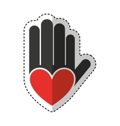 hand print paint with heart vector image