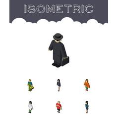 Isometric human set of policewoman guy girl and vector