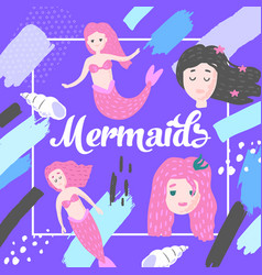 mermaids design in childish style kids background vector image