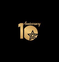 10 years anniversary celebration star gold logo vector
