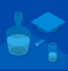 3d graduation cap glass and a bottle vector