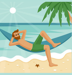 a man in a hammock resting on sea vector image