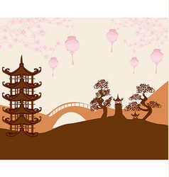 Asian buildings and cherry blossoms vector image