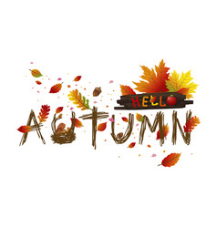 Autumn leaves card design on white background vector