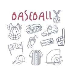 Baseball Related Object And Inventory Set vector image