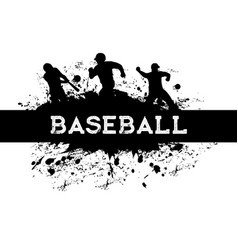 baseball sport player silhouettes with bat balls vector image