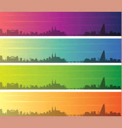 basel multiple color gradient skyline banner vector image