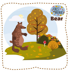 Bear cute cartoon style in background forest vector