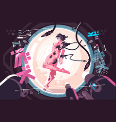 Beautiful robotic woman in incubator vector