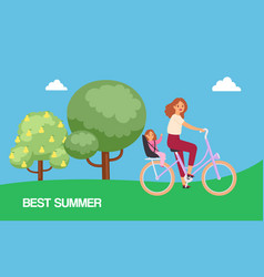 best summer family with mother and daughter riding vector image