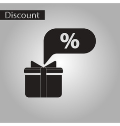Black and white style icon gift box discount vector
