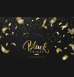 Black friday sale background with gold serpentine vector