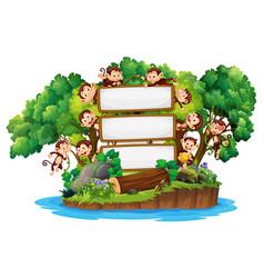 Border template design with cute monkeys on island vector