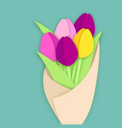 Bouquet of five paper cut tulip flowers in craft vector
