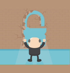business behind the wall show lock symbolpath of vector image