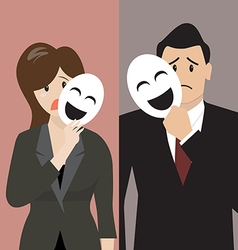 Business man and woman holding a fake mask vector