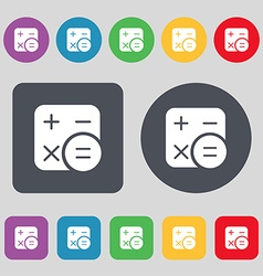 Calculator icon sign A set of 12 colored buttons vector image