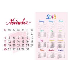 Calendar 2018 november separately white-pink vector