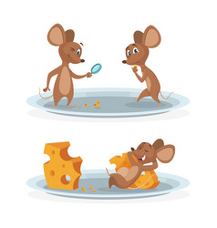 cartoon mice on cheese plate vector image