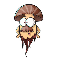 cartoon mushroom with beard vector image