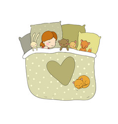 Child is sleeping with her toys vector